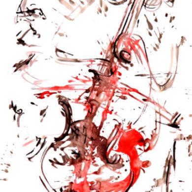 Crescendo in Rot | 2015 | Aquarell, Reisskohle | 67 x 50 cm