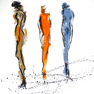 In Bewegung 1 | 2013 | Acryl, Tusche | 65 x 50 cm