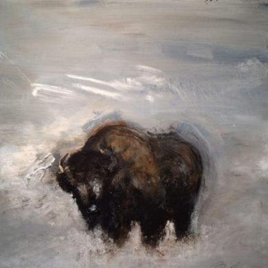Solitairer Büffel | 2015 | Acryl, Sand | 50 x 50 cm