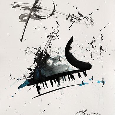 Concerto | 2017 | Tusche, Fusain, auf Hahnemuehle Buettenpapier | 65 x 50 cm