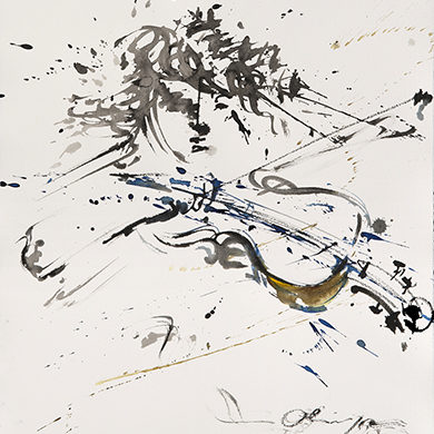 Des Geiger's Passion 1 | 2017 | Tusche, Fusain auf Hahnemuehle Buettenpapier | 65 x 50 cm