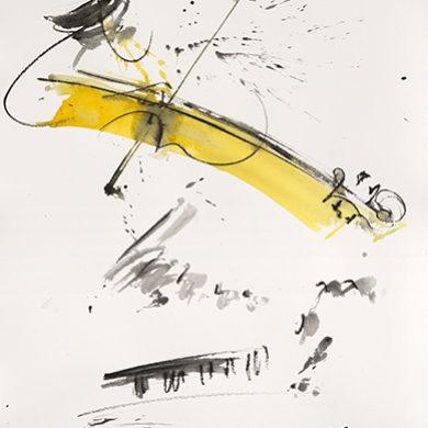 Erste Geige | 2017 | Tusche, Fusain, auf Hahnemuehle Buettenpapier | 65 x 50 cm
