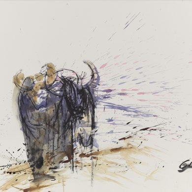 Zwei Wasserbüffel | Mixed Media | 50 x 70 cm