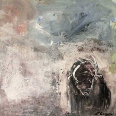 Büffel wartend | 2014 | Acryl, Sand | 50 x 50 cm