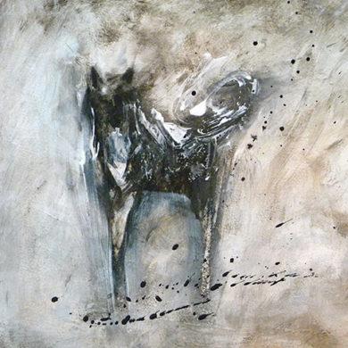 Hund auf langen Beinen | 2012 | Acryl, Tusche | 50 x 50 cm