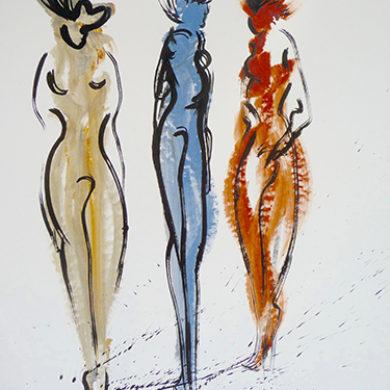 In Bewegung 2 | 2013 | Acryl, Tusche | 65 x 50 cm