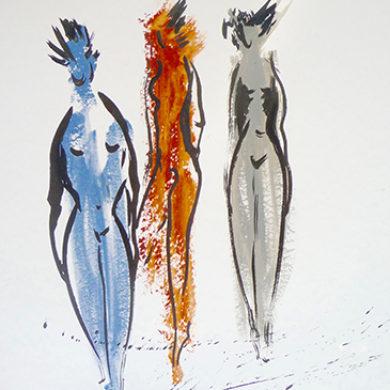 In Bewegung 3 | 2013 | Acryl, Tusche | 65 x 50 cm