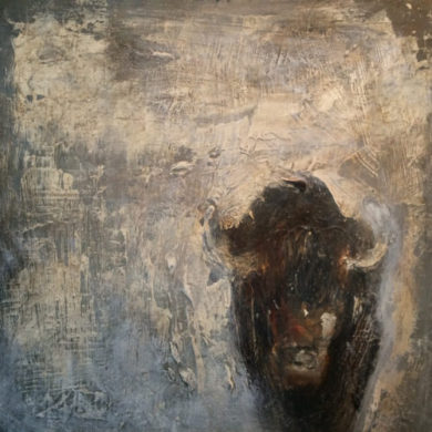 Junger Büffel | 2014 | Acryl, Sand | 30 x 30 cm