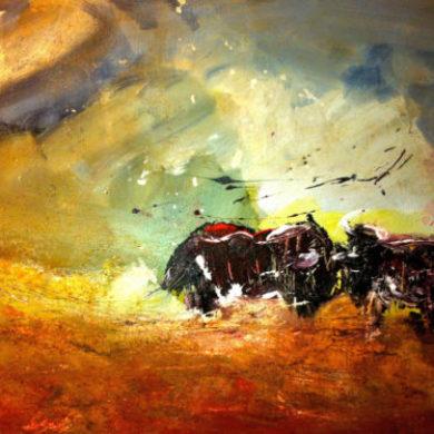 Kopf an Kopf | 2014 | Acryl, Sand | 50 x 60 cm