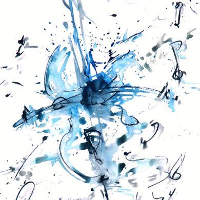 Vibration in Blau | 2015 | Tusche, Reisskohle | 67 x 50 cm