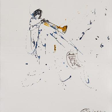 Flying Notes | 2017 | Tusche, Fusain auf Hahnemuehle Büttenpapier | 65 x 50 cm