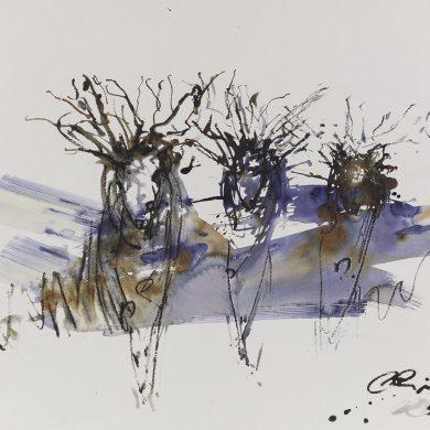 Blue Hour Run | Mixed Media | 50 x 65 cm
