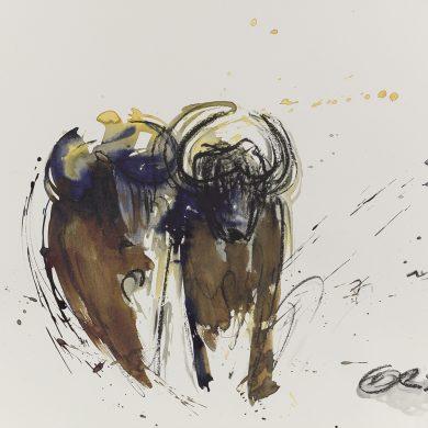 Büffel im Galopp | Mixed Media | 50 x 70 cm