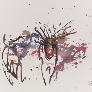 Bulle und Hirsch | Mixed Media | 50 x 70 cm