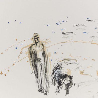 Spaziergang mit Hund | Mixed Media | 50 × 70 cm